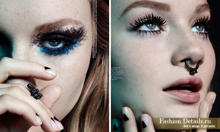 Nylon Magazine, густые ресницы, много туши на ресницах, размазанный макияж