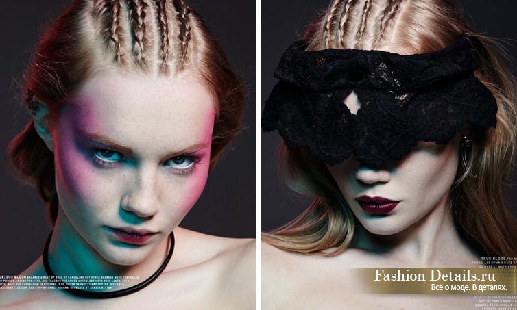 Nylon Magazine, модный макияж, яркие губы, модная съемка, модный макияж, косички