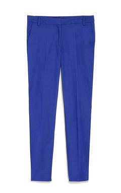 синие брюки, прямые брюки, модные брюки 2016, лук с синими брюками