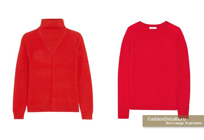 красный свитер, водолазка