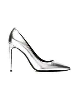 серебряные туфли SAINT LAURENT