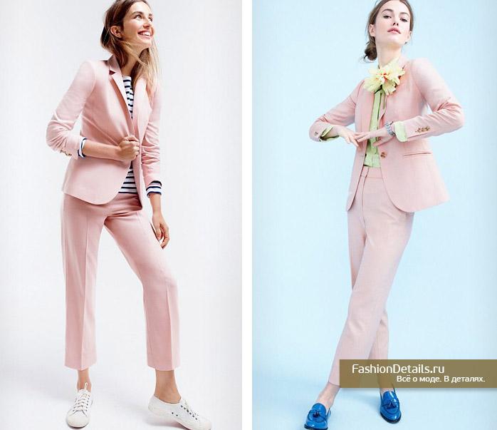 брючный костюм для женщин, розовый костюм, брючный женский, модные тенденции 2016, актуальный образ весна 2016, лето 2016, пиджак розовый женский, что модно