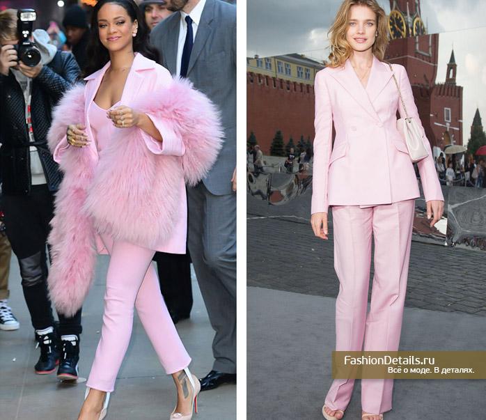 рианна в розовом костюме, наталья водянова розовый костюм