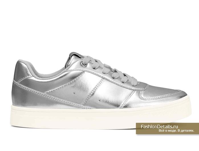 h&m, весна 2016, купить серебряные кеды, модная обувь