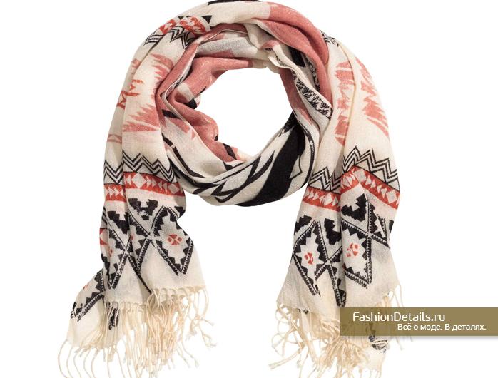 шарф с этническим узором, палантин, сет колец, кольца, h&m, весна 2016