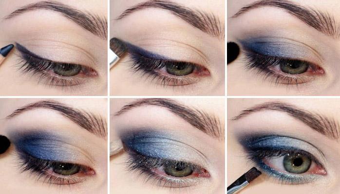 макияж глаз в синих тонах