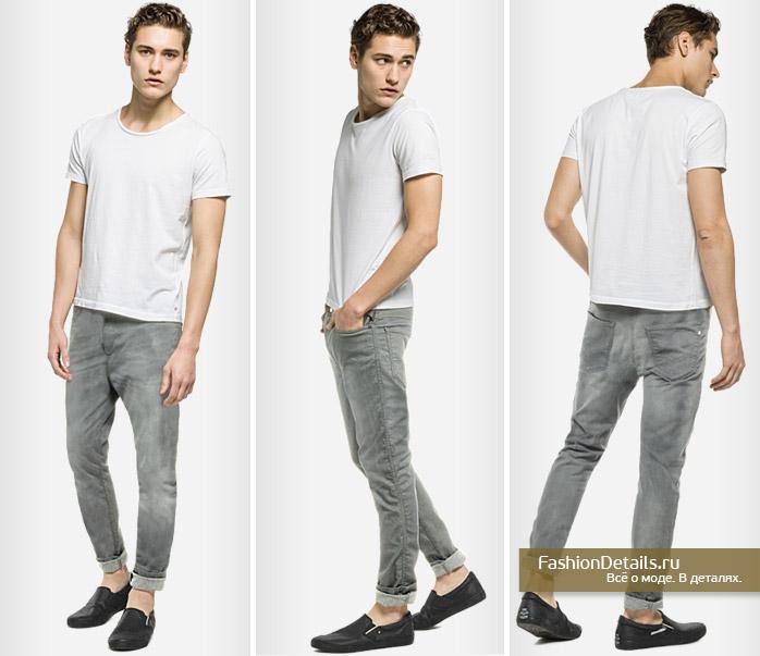 мужские джоггеры серые джинсовые реплей