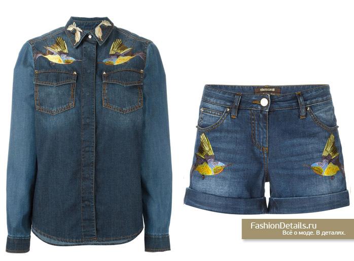 джинсовая рубашка с вышивкой ROBERTO CAVALLI, джинсовые шорты с вышивкой птицы