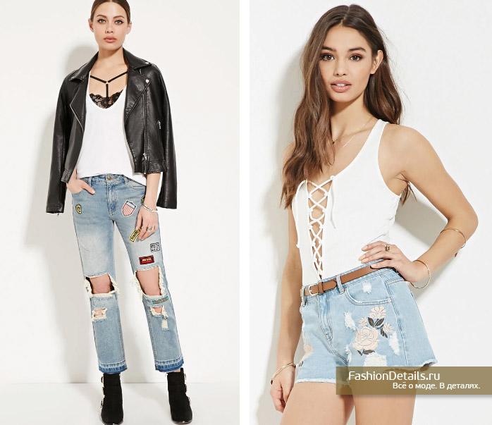 джинсы с нашивками, джинсовые шорты с вышивкой