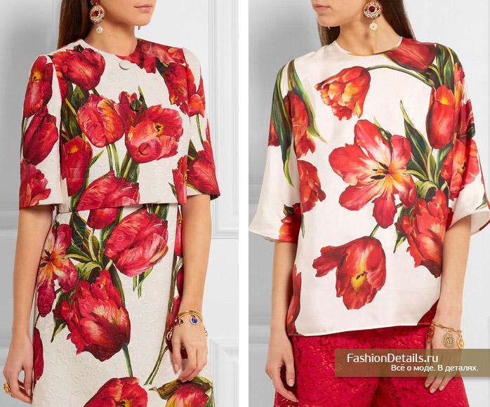 DOLCE&GABBANA блузка с цветами 2016