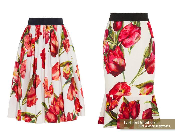 DOLCE&GABBANA юбка с цветами