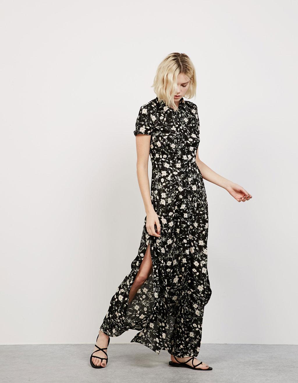 Длинное платье с принтом Bershka, 3 599р.