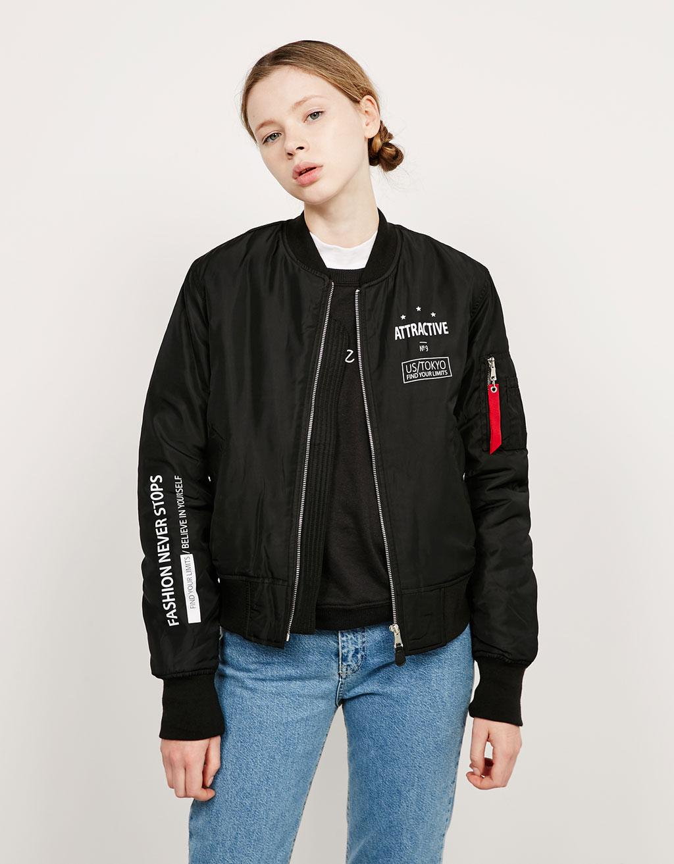 Куртка бомбер с надписью Bershka, 3 599р.