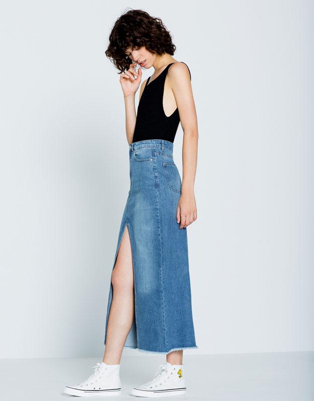 Джинсовая юбка с разрезом Pull&Bear, 3 599р.