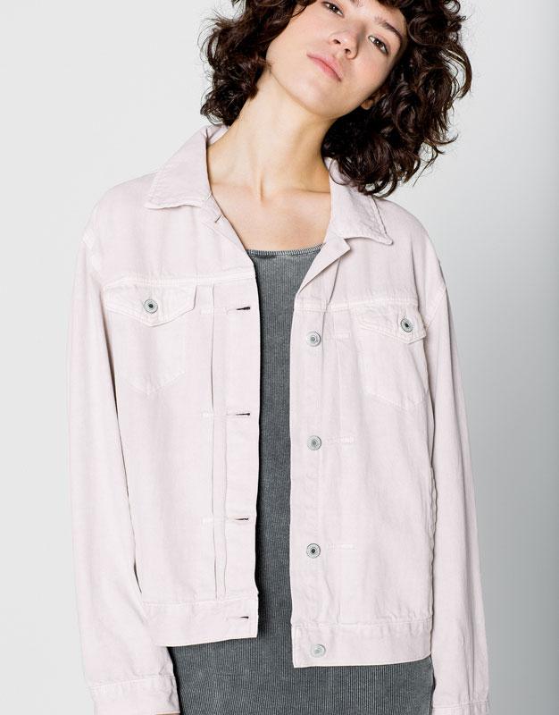 Розовая джинсовая куртка Pull&Bear, 3 999р.