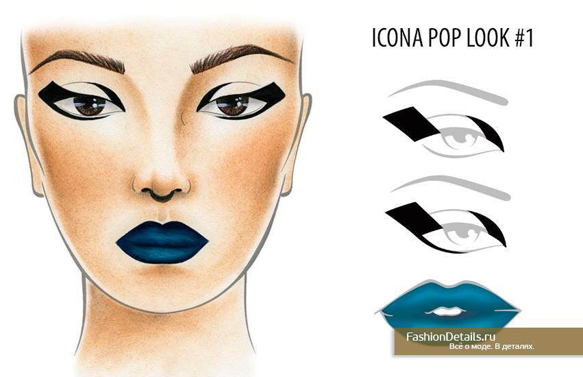 Beauty look blue lipstick, макияж с голубой помадой