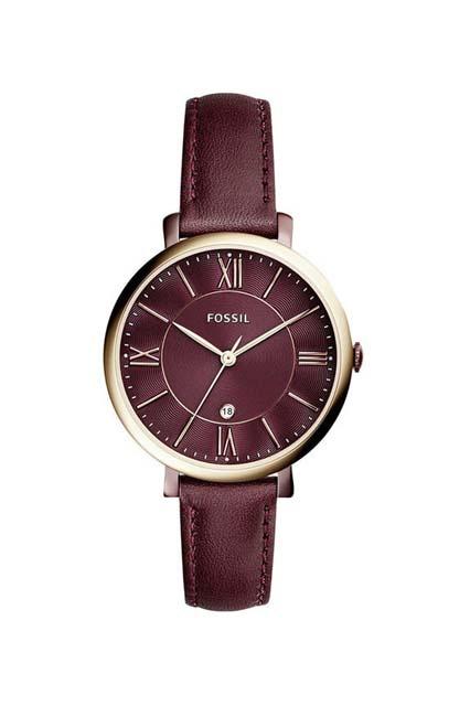 часы с бордовым кожаным ремешком
