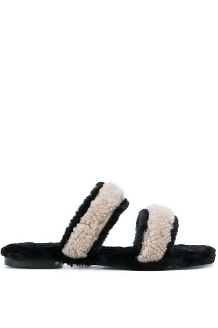 AVEC MODÉRATION сандалии с меховой вставкой