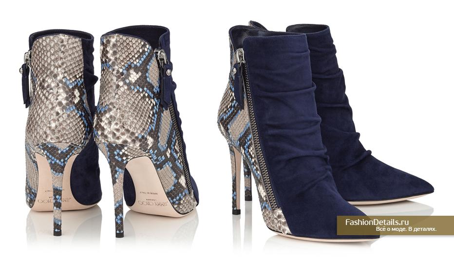 Jimmy Choo Комбинированные ботинки на каблуке из замши и питона - DAYTON 100