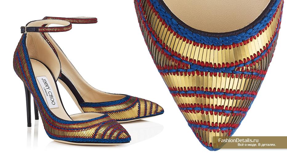 Jimmy Choo Сатиновые туфли с нашитыми золотыми пайетками - MAZZY