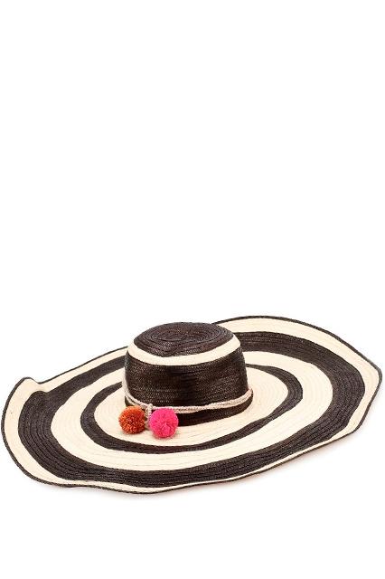 Шляпа соломенная с помпонами SOPHIE ANDERSON