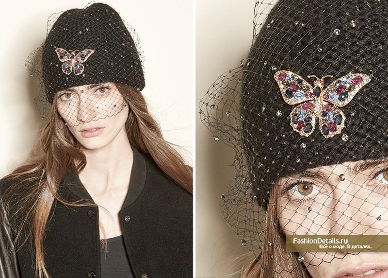 вязанная шапка с вуалью Jennifer Behr