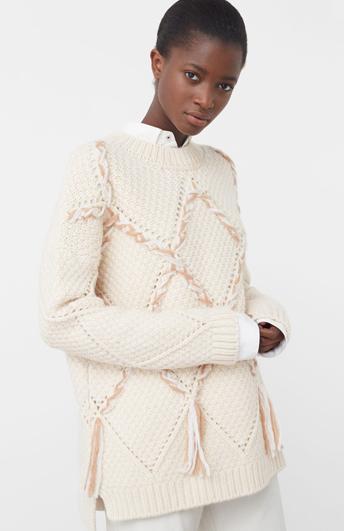 Пуловер MANGO белый с бахромой