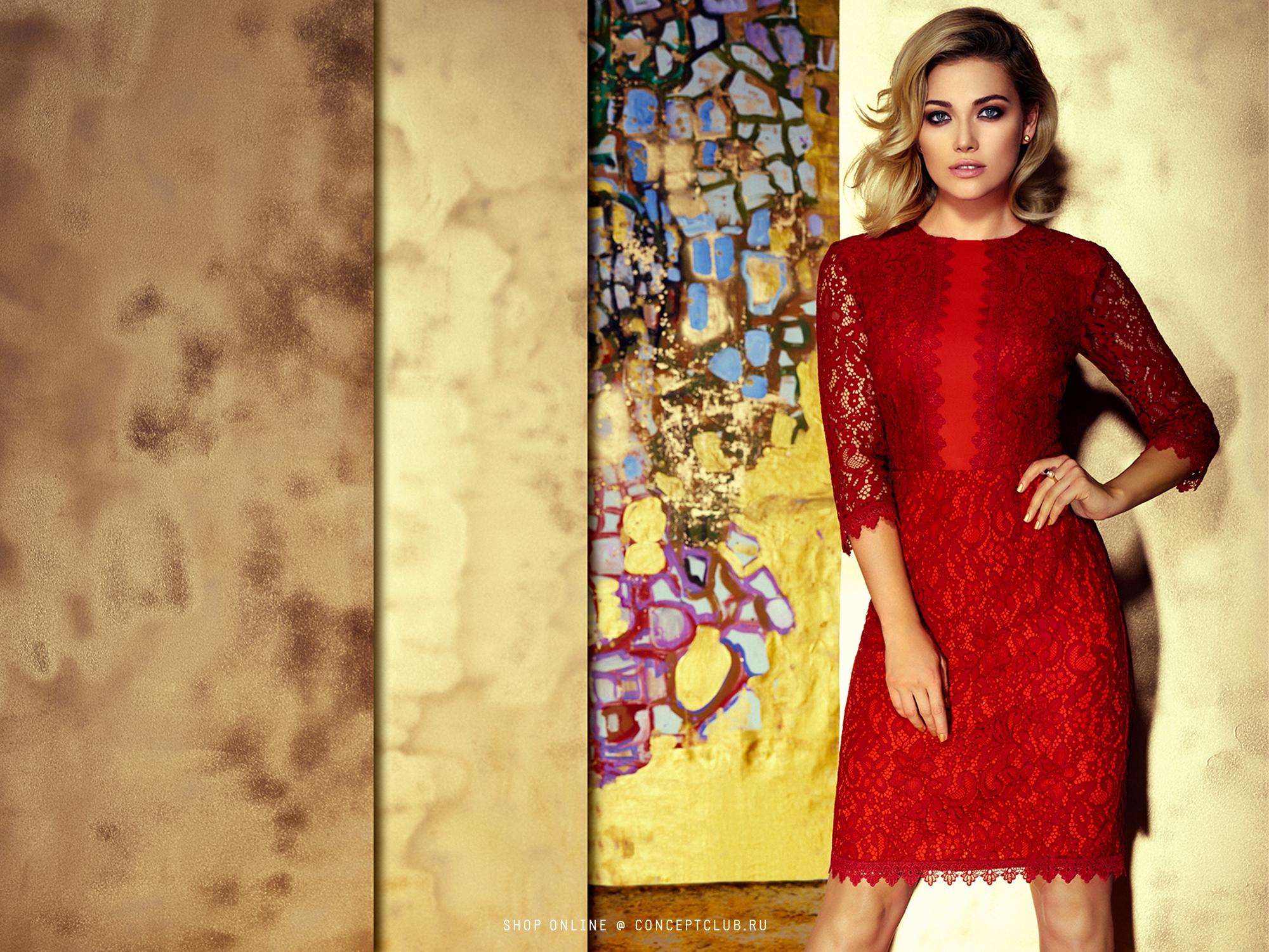 Concept Club красное платье из кружева