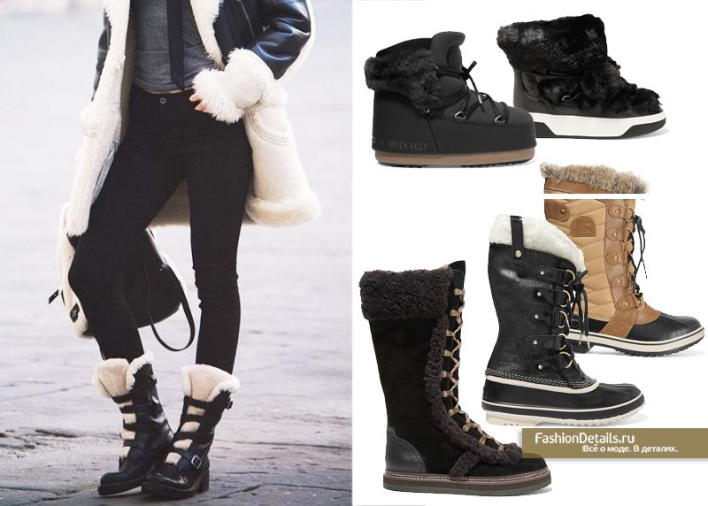 какую обувь надеть с дубленкой, модная зимняя обувь 2016