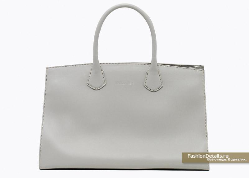 Объемная сумка-тоут из кожи серого цвета Patrizia Pepe