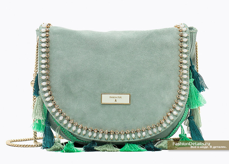 Замшевая сумка мятного цвета Patrizia Pepe