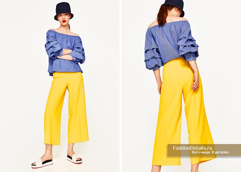 Желтые брюки-кюлоты с завышенной талией зара