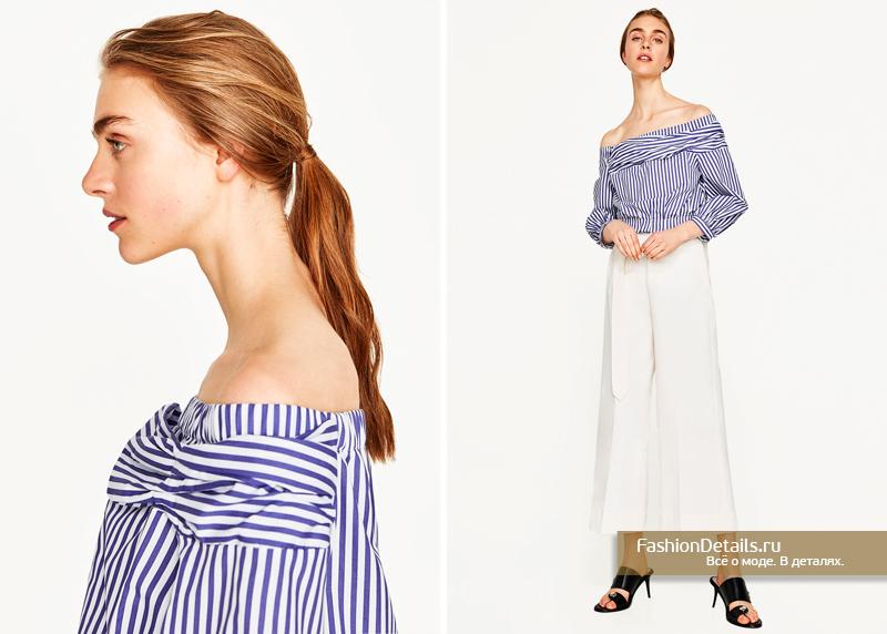 ZARA блузка в полоску с открытыми плечами