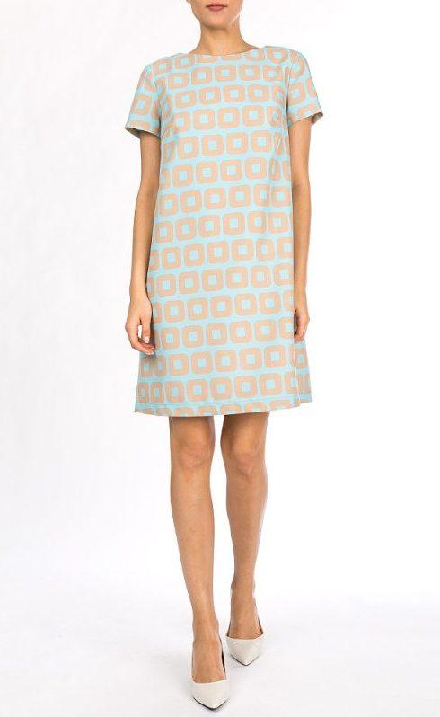 Платье голубое с принтом