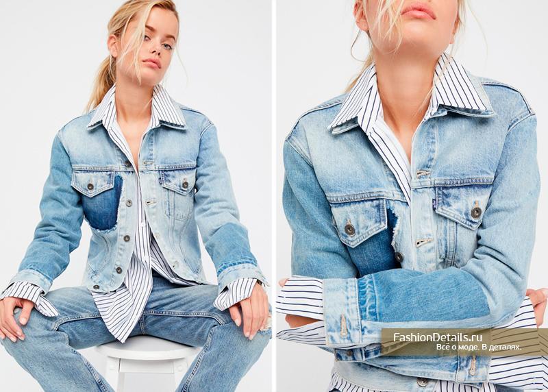 джинсовая куртка из разных кусочков