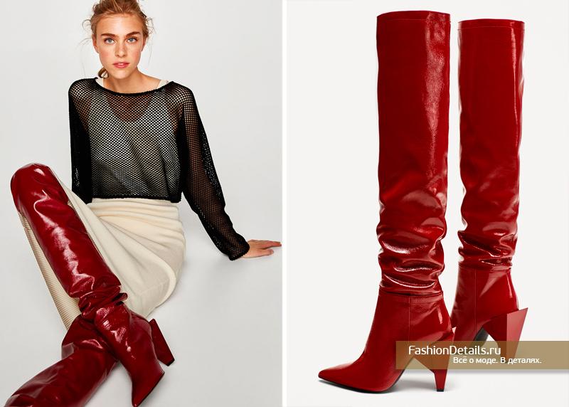 Лакированные красные ботфорты на каблуке зара