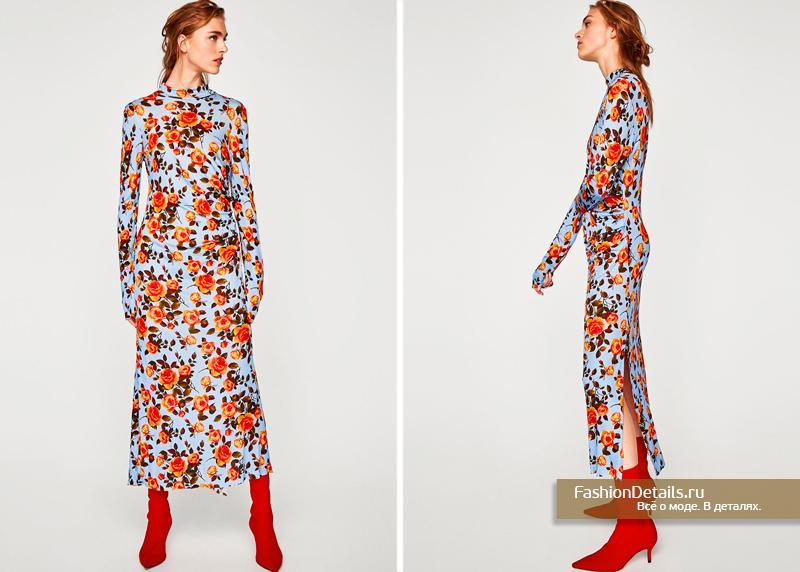 Платье с цветочным принтом зара