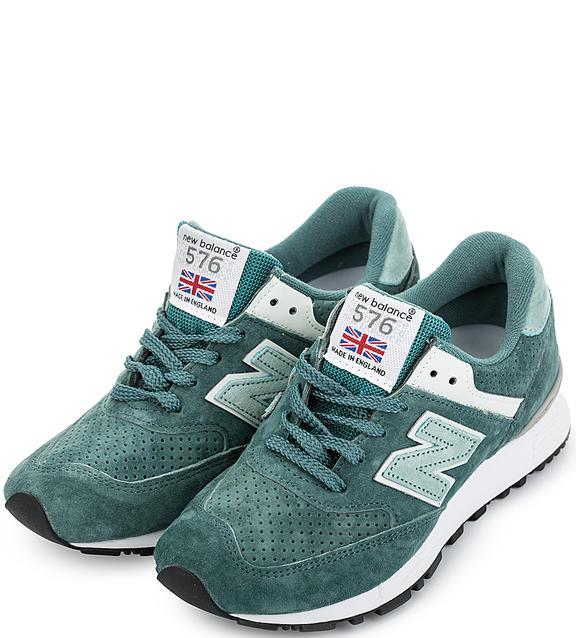 NEW BALANCE Зеленые кроссовки из натуральной замши