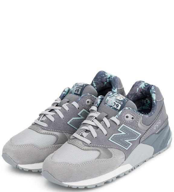 NEW BALANCE Замшевые кроссовки серые с голубым