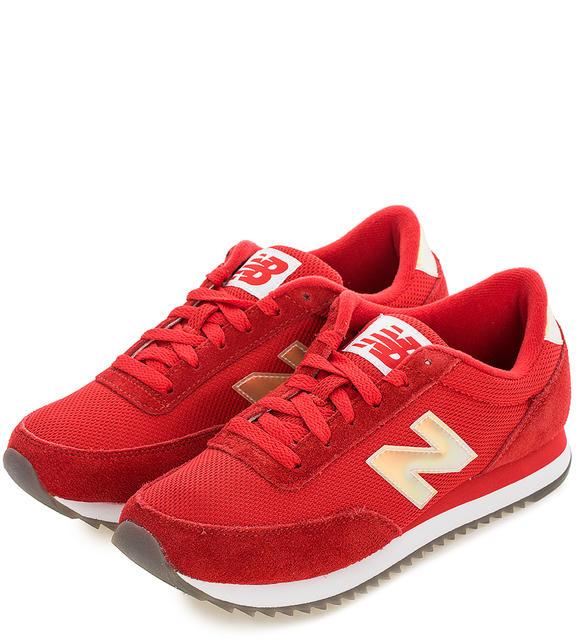 NEW BALANCE Текстильные кроссовки с замшевыми вставками красные