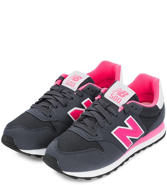 NEW BALANCE Текстильные кроссовки серые с розовым логотипом
