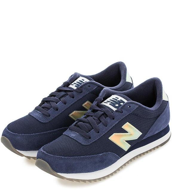 NEW BALANCE Текстильные кроссовки с замшевыми вставками синие