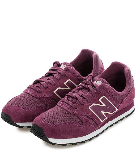 NEW BALANCE Замшевые кроссовки с текстильными вставками ягодного цвета